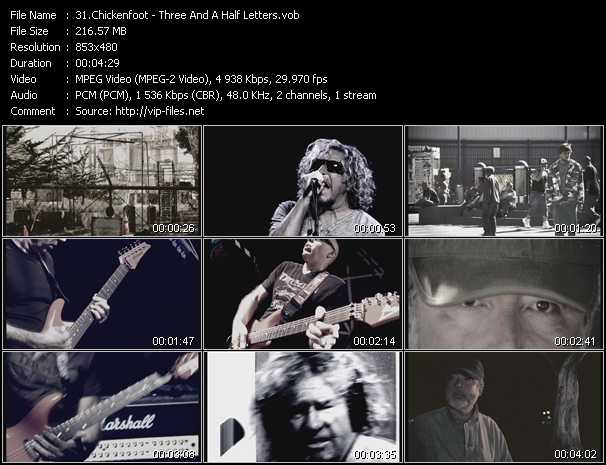 download Chickenfoot « Three And A Half Letters » video vob