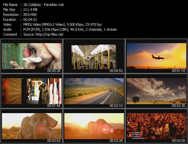 download Coldplay « Paradise » video vob