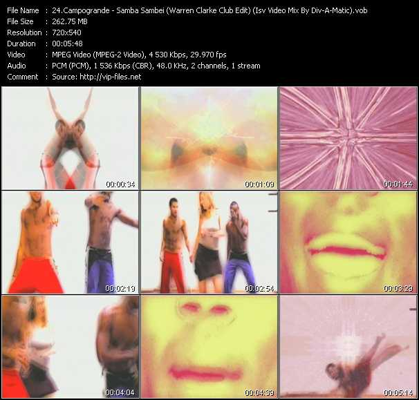 video Samba Sambei (Warren Clarke Club Edit) (Isv Video Mix By Div-A-Matic) screen