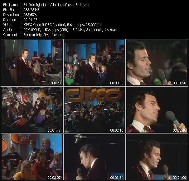 download Julio Iglesias « Alle Liebe Dieser Erde » video vob
