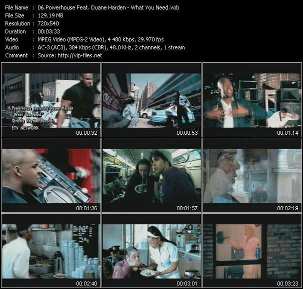 download Powerhouse Feat. Duane Harden « What You Need » video vob
