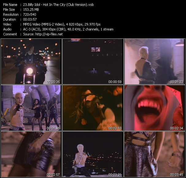 download Billy Idol « Hot In The City (Club Version) » video vob