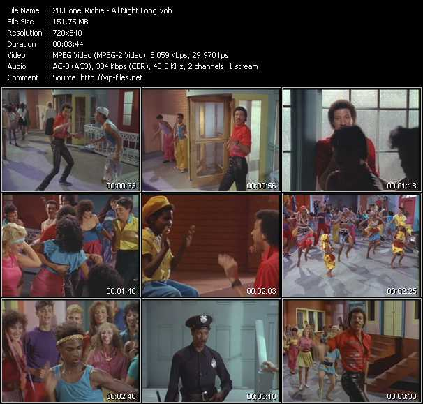 download Lionel Richie « All Night Long » video vob