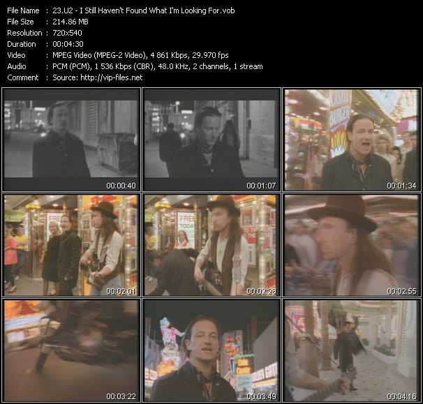 download U2 « I Still Haven't Found What I'm Looking For » video vob
