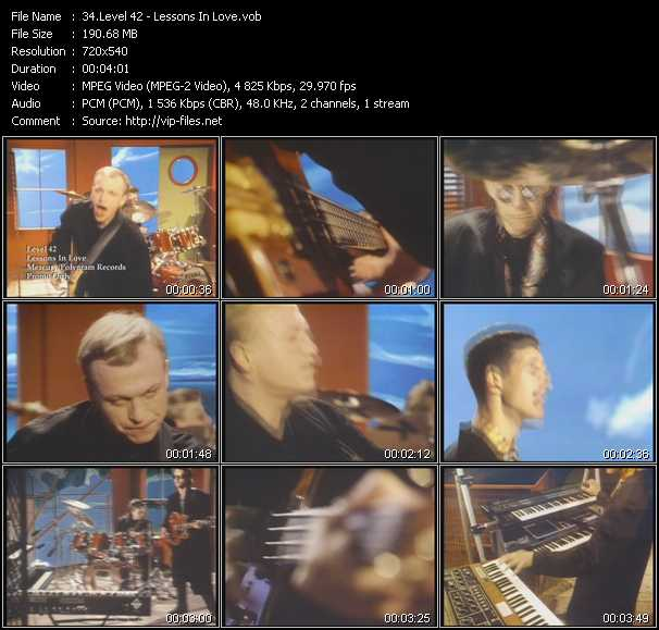 download Level 42 « Lessons In Love » video vob