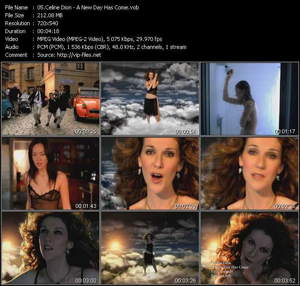 download Celine Dion « A New Day Has Come » video vob