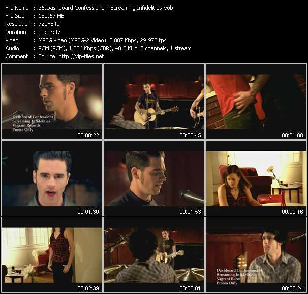 download Dashboard Confessional « Screaming Infidelities » video vob