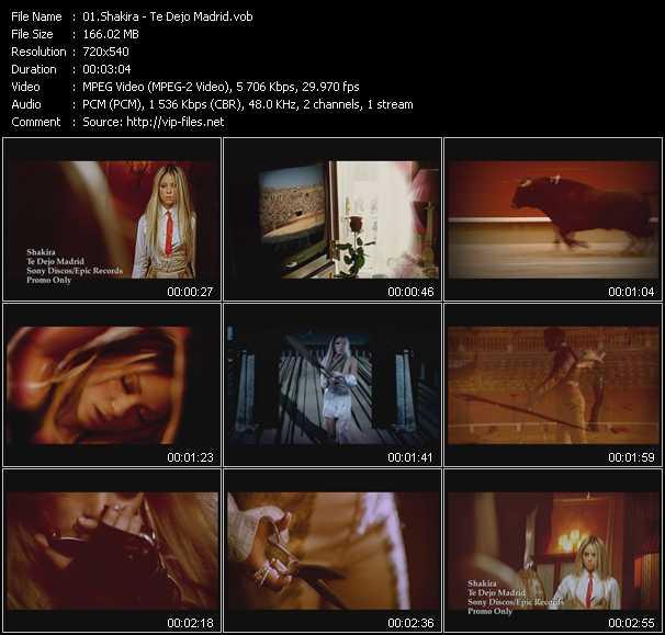 download Shakira « Te Dejo Madrid » video vob