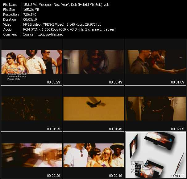 download U2 Vs. Musique « New Year's Dub (Hybrid Mix Edit) » video vob