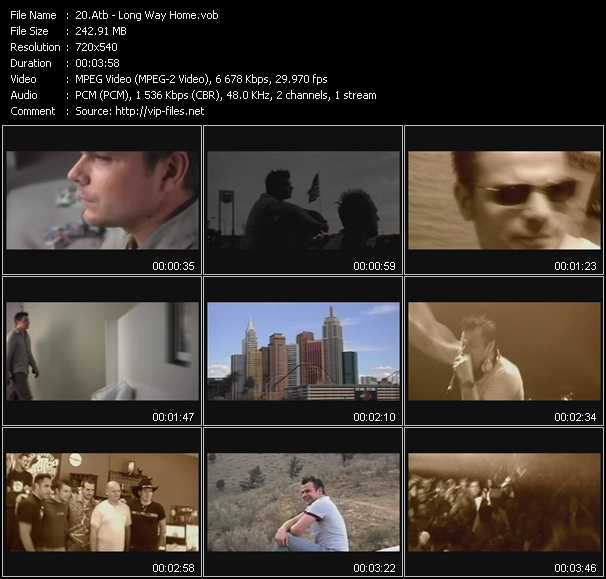 download Atb « Long Way Home » video vob