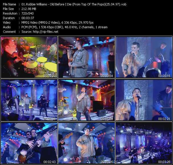 download Robbie Williams « Old Before I Die (From Top Of The Pops) (25.04.97) » video vob