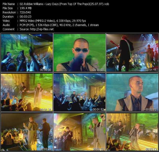 video Lazy Days (From Top Of The Pops) (25.07.97) screen