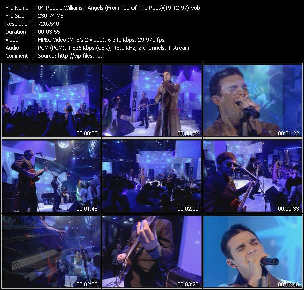 download Robbie Williams « Angels (From Top Of The Pops) (19.12.97) » video vob