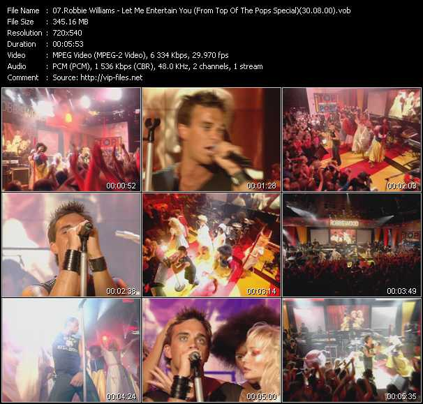 video Let Me Entertain You (From Top Of The Pops Special) (30.08.00) screen