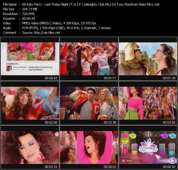 download Katy Perry « Last Friday Night (T.G.I.F.) (Almighty Club Mix) (Vj Tony MacAroni Video Mix) » video vob