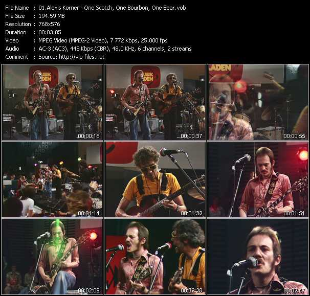 download Alexis Korner « One Scotch, One Bourbon, One Bear (From Musikladen) » video vob