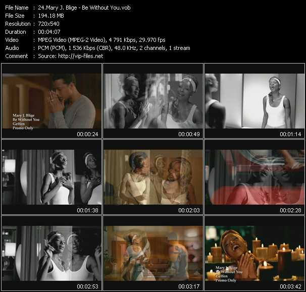 download Mary J. Blige « Be Without You » video vob