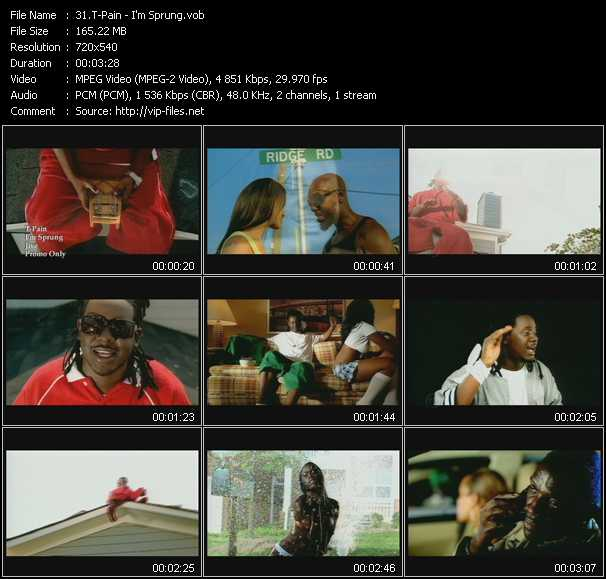 download T-Pain « I'm Sprung » video vob