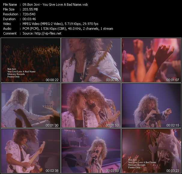 download Bon Jovi « You Give Love A Bad Name » video vob