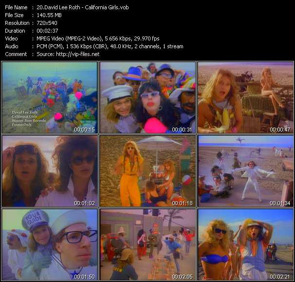 download David Lee Roth « California Girls » video vob