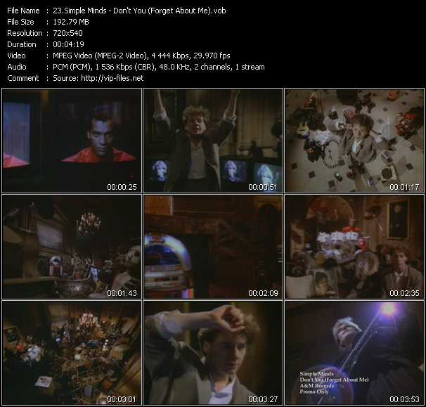download Simple Minds « Don't You (Forget About Me) » video vob