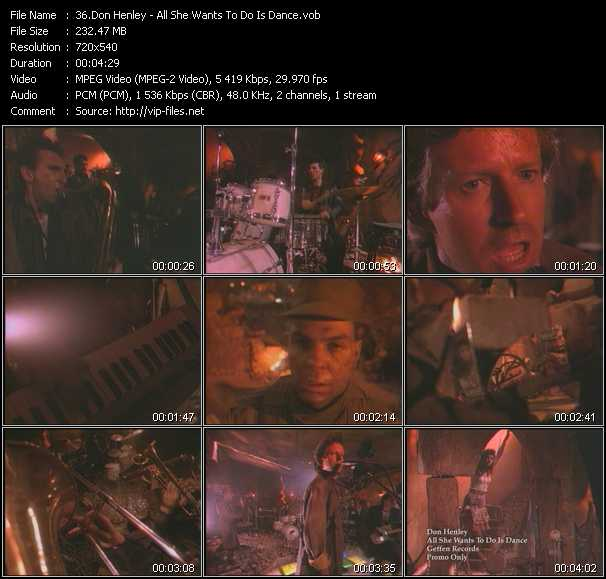 download Don Henley « All She Wants To Do Is Dance » video vob