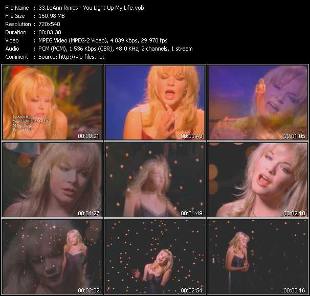 download LeAnn Rimes « You Light Up My Life » video vob