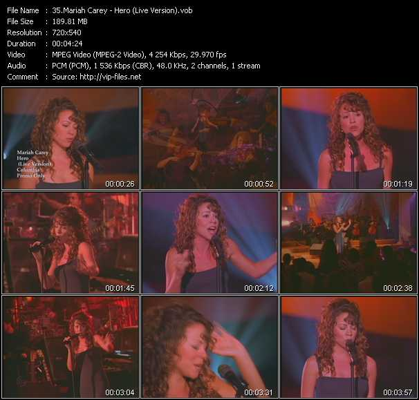 download Mariah Carey « Hero (Live Version) » video vob