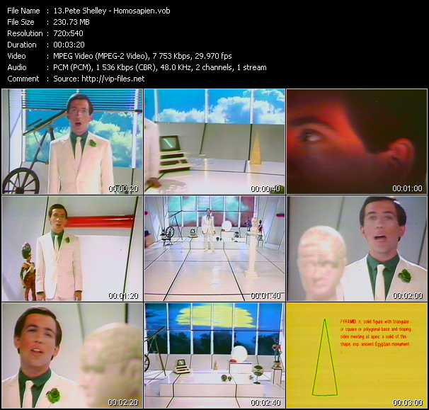 download Pete Shelley « Homosapien » video vob