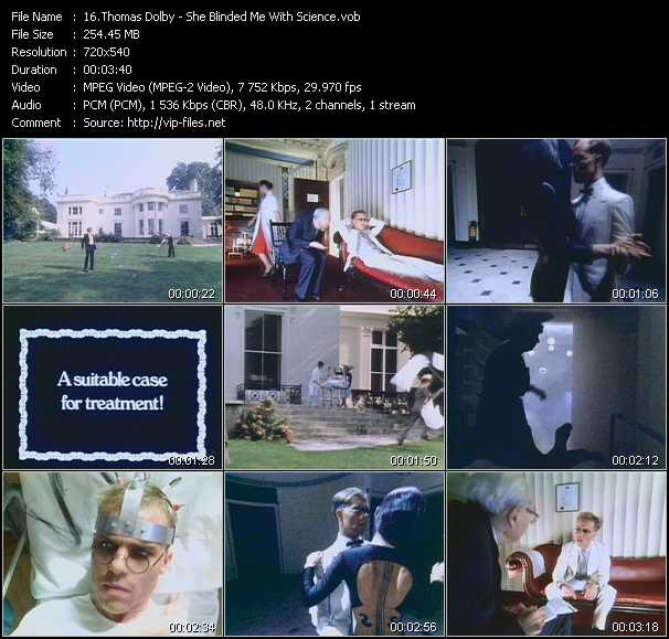 download Thomas Dolby « She Blinded Me With Science » video vob