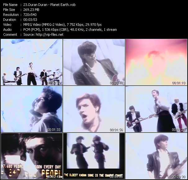 download Duran Duran « Planet Earth » video vob